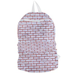 Brick1 White Marble & Red Marble (r) Foldable Lightweight Backpack