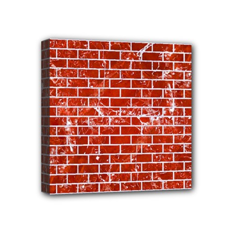 Brick1 White Marble & Red Marble Mini Canvas 4  X 4