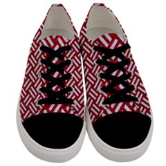 Woven2 White Marble & Red Leather Men s Low Top Canvas Sneakers