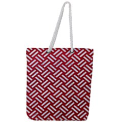 Woven2 White Marble & Red Leather Full Print Rope Handle Tote (large) by trendistuff