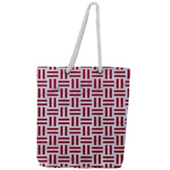Woven1 White Marble & Red Leather (r) Full Print Rope Handle Tote (large) by trendistuff