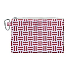 Woven1 White Marble & Red Leather (r) Canvas Cosmetic Bag (large) by trendistuff