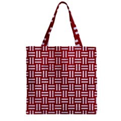 Woven1 White Marble & Red Leather Zipper Grocery Tote Bag by trendistuff