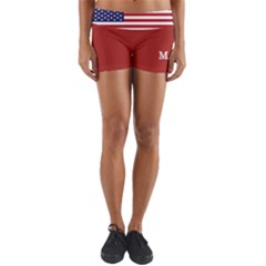 Maga Make America Great Again With Us Flag On Black Yoga Shorts by snek