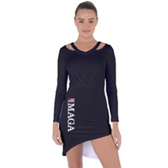 Maga Make America Great Again With Us Flag On Black Asymmetric Cut Out Shift Dress by MAGA