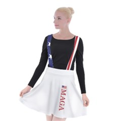 Maga Make America Great Again With Us Flag On Black Suspender Skater Skirt
