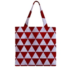 Triangle3 White Marble & Red Leather Zipper Grocery Tote Bag by trendistuff