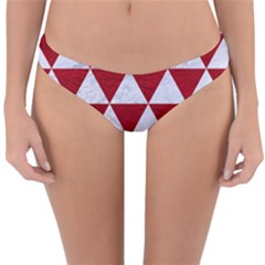 Triangle3 White Marble & Red Leather Reversible Hipster Bikini Bottoms by trendistuff
