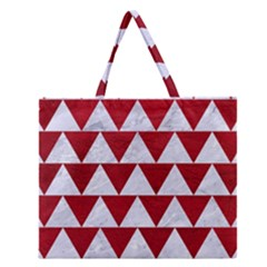 Triangle2 White Marble & Red Leather Zipper Large Tote Bag by trendistuff