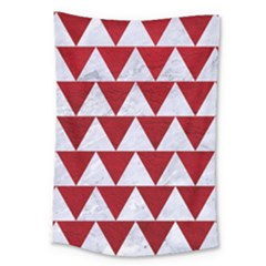 Triangle2 White Marble & Red Leather Large Tapestry by trendistuff