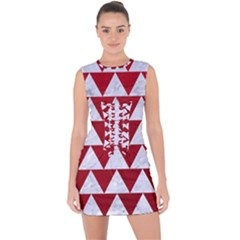 Triangle2 White Marble & Red Leather Lace Up Front Bodycon Dress