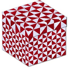 Triangle1 White Marble & Red Leather Storage Stool 12   by trendistuff