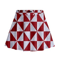 Triangle1 White Marble & Red Leather Mini Flare Skirt