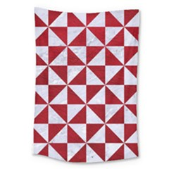 Triangle1 White Marble & Red Leather Large Tapestry