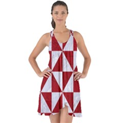 Triangle1 White Marble & Red Leather Show Some Back Chiffon Dress