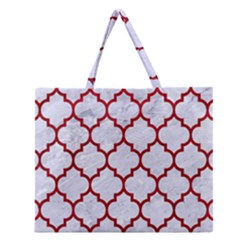 Tile1 White Marble & Red Leather (r) Zipper Large Tote Bag by trendistuff