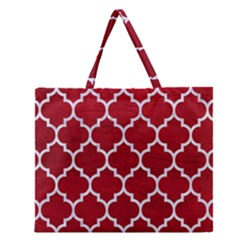 Tile1 White Marble & Red Leather Zipper Large Tote Bag by trendistuff
