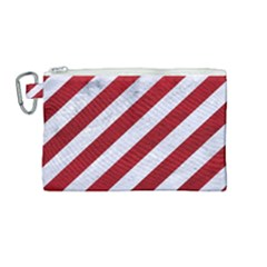 Stripes3 White Marble & Red Leather (r) Canvas Cosmetic Bag (medium) by trendistuff