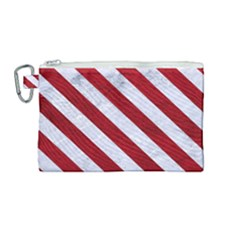 Stripes3 White Marble & Red Leather Canvas Cosmetic Bag (medium) by trendistuff