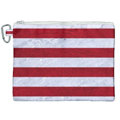 Stripes2white Marble & Red Leather Canvas Cosmetic Bag (xxl) by trendistuff
