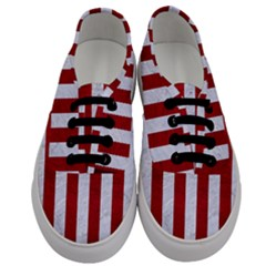 Stripes1 White Marble & Red Leather Men s Classic Low Top Sneakers
