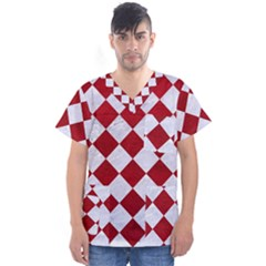 Square2 White Marble & Red Leather Men s V Neck Scrub Top