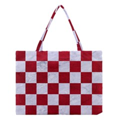 Square1 White Marble & Red Leather Medium Tote Bag by trendistuff