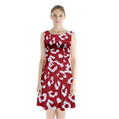 Skin5 White Marble & Red Leather (r) Sleeveless Waist Tie Chiffon Dress