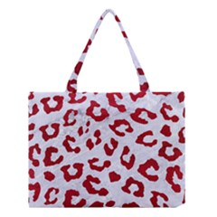 Skin5 White Marble & Red Leather Medium Tote Bag by trendistuff