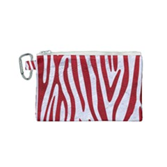 Skin4 White Marble & Red Leather Canvas Cosmetic Bag (small) by trendistuff