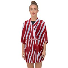 Skin3 White Marble & Red Leather Half Sleeve Chiffon Kimono