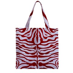 Skin2 White Marble & Red Leather (r) Zipper Grocery Tote Bag by trendistuff