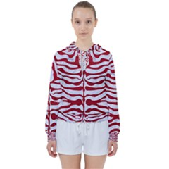 Skin2 White Marble & Red Leather (r) Women s Tie Up Sweat