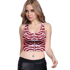 Skin2 White Marble & Red Leather Racer Back Crop Top by trendistuff