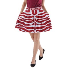 Skin2 White Marble & Red Leather A Line Pocket Skirt by trendistuff