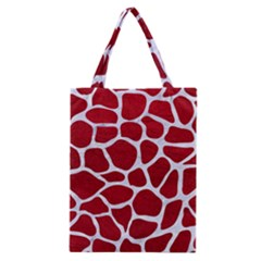 Skin1 White Marble & Red Leather (r) Classic Tote Bag by trendistuff
