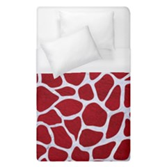 Skin1 White Marble & Red Leather (r) Duvet Cover (single Size) by trendistuff
