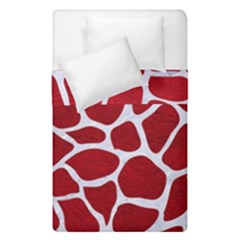 Skin1 White Marble & Red Leather (r) Duvet Cover Double Side (single Size) by trendistuff