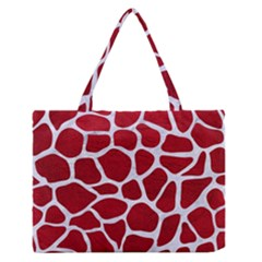 Skin1 White Marble & Red Leather (r) Zipper Medium Tote Bag by trendistuff