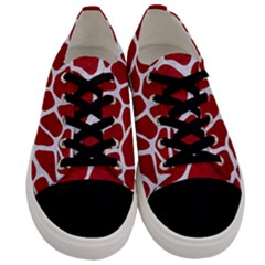 Skin1 White Marble & Red Leather (r) Men s Low Top Canvas Sneakers
