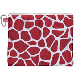 Skin1 White Marble & Red Leather (r) Canvas Cosmetic Bag (xxxl) by trendistuff