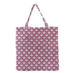 Scales2 White Marble & Red Leather (r) Grocery Tote Bag by trendistuff