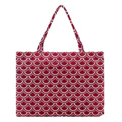 Scales2 White Marble & Red Leather Medium Tote Bag by trendistuff