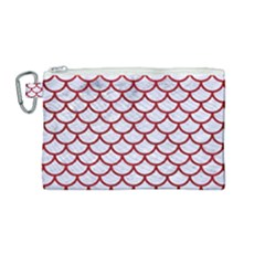 Scales1 White Marble & Red Leather (r) Canvas Cosmetic Bag (medium) by trendistuff