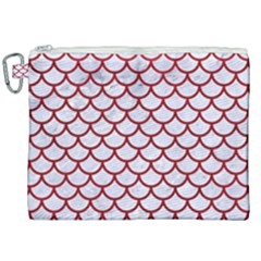 Scales1 White Marble & Red Leather (r) Canvas Cosmetic Bag (xxl)
