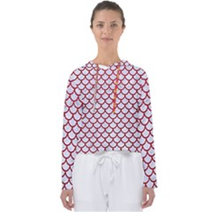 Scales1 White Marble & Red Leather (r) Women s Slouchy Sweat