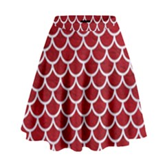 Scales1 White Marble & Red Leather High Waist Skirt