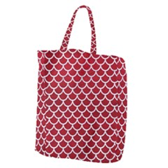 Scales1 White Marble & Red Leather Giant Grocery Zipper Tote by trendistuff