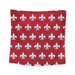Royal1 White Marble & Red Leather (r) Square Tapestry (small) by trendistuff