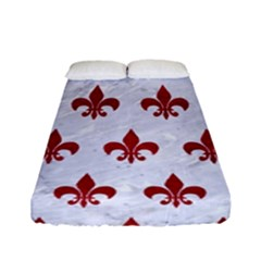 Royal1 White Marble & Red Leather Fitted Sheet (full/ Double Size) by trendistuff